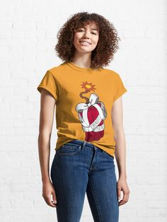 Great t-shirt for gamers who use bombs and mind games to disrupot the enemy team, like Junkrat in Overwatch. Shirt available in sizes small to 5XL. Vaporwave, Pin Up Girls, Cute Designs, Shirt Designs, Johnny Orlando, Trump Shirts, Vintage Shirts, Retro Shirts, Tshirt Colors