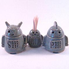 Robot Salt, Pepper and Toothpick holder