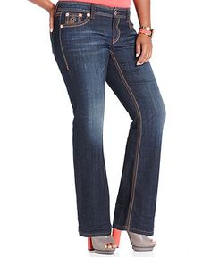 Seven7 Jeans Plus Size Destructed Bootcut Jeans, Archer Wash - Plus Sizes - Macy's