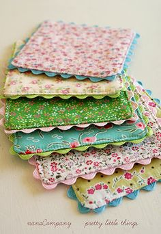 Fabric coasters with ric rac trim - only pic