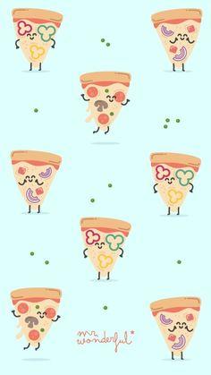 The Wonderful pizza Food Wallpaper, Kawaii Wallpaper, Pastel Wallpaper, Screen Wallpaper, Cartoon Wallpaper, Cute Wallpaper Backgrounds, Wallpaper Iphone Cute, Cute Wallpapers, Mr Wonderful