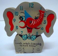 Vintage Learning To Tell Time Elephant Wooden by RockwallAntiques