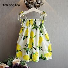 Girls Summer Dress Kids Clothes 2016 Brand Children Dress Princess Lemon Print Pattern Baby Girls Dresses Party(China (Mainland))