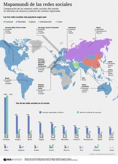 Mapamundi de las Redes Sociales #infografia #infographic #socialmedia #maps