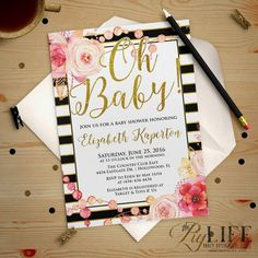 Child Bathe Invitation   Oh BABY Floral and Gold Striped Child Bathe Invitation Printable DIY No. I273. See more by clicking the photo link