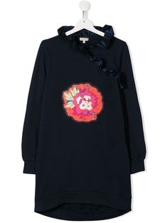 Dark blue cotton ruffled flower-patch dress from Kenzo Kids featuring a flower-shaped patch to the front, a ruffled neck, long sleeves and a relaxed fit. World Of Fashion, Kids Fashion, Fashion Design, Dress Outfits, Kids Outfits, Kenzo Kids, Flower Patch, Blue Dresses, Dark Blue