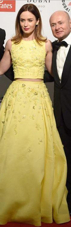 Emily Blunt: Dress – Zuhair Murad  Watch – IWC  Jewelry – Lorraine Schwartz  Shoes – Jimmy Choo