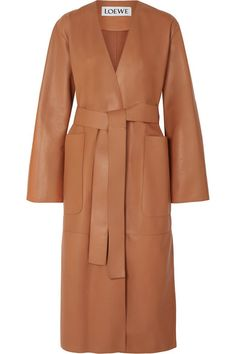 Loewe - Belted Leather Coat - Tan