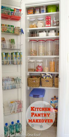 """How to create and install a kitchen food pantry from a tiny narrow closet by installing DIY floating shelves + storage containers. """"budget reveal"""" at Four Generations One Roof"""