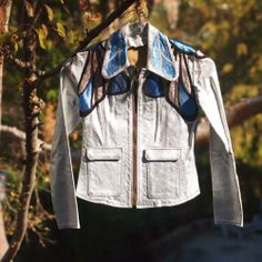 East West Musical Instruments SILVER/MULTI COLORED BUTTERFLY Leather Jacket