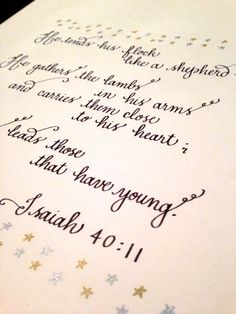 Custom Calligraphy Quote to be framed | Beth Hunt Calligraphy | Bible Verse Isaiah 40:11