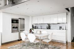 Studio apartment kitchen in white