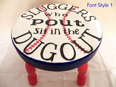 Sluggers Who Pout Time Out Stool by WoodWorxDesigns on Etsy Baby Boy Rooms, Baby Boy Nurseries, Baby Room, Nursery Room, Nursery Ideas, Bedroom Ideas, Kids Boy, Baby Kids, Children Play