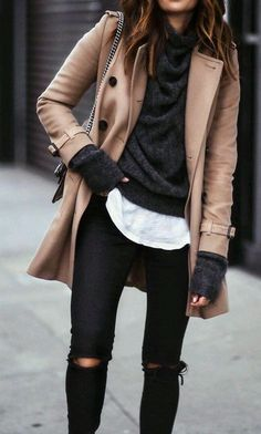 · Camel Coat + Black Ripped Jeans + Dark Sweater- I really love the layered look in this outfit Fashion Mode, Look Fashion, Womens Fashion, Fashion Trends, Fall Fashion, Fashion Ideas, Fashion Outfits, Ladies Fashion, 2010s Fashion