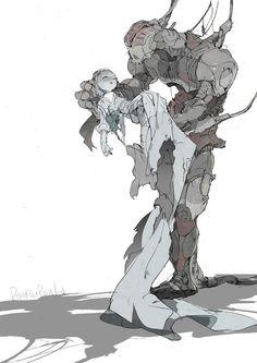 Girl=pose for azars death in embers arms? Kunst Inspo, Art Inspo, Fantasy Kunst, Fantasy Art, Cyberpunk Kunst, Anime Kunst, Robot Art, Anime Artwork, Art And Illustration