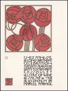 1973 Chez Panisse Second Birthday Celebration poster designed by David Lance Goines in an homage to the Jugendstil style of the Vienna Workshops and Vienna Secession movement. Poster Art, Kunst Poster, Art Nouveau Design, Design Art, Jugendstil Design, Vienna Secession, Design Movements, Vintage Graphic Design, Arts And Crafts Movement
