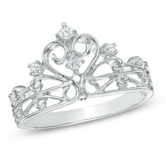 ME WANT FOR A PROMISE RING! 1/10 CT. T.W. Diamond Crown Ring in Sterling Silver
