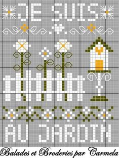 Beautiful Birdhouse and Flowers Pattern. On French site. Cross Stitch Bird, Cross Stitch Flowers, Cross Stitching, Cross Stitch Embroidery, Cross Stitch Freebies, Quilting Templates, Crochet Cross, Modern Cross Stitch Patterns, Beading Patterns