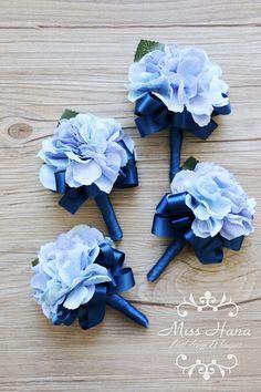 Hortensie Boutonniere royal blue Ribbon rustikale Knopfloch