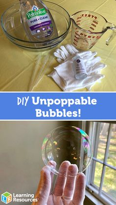DIY Unpoppable Bubbles Experiment! - Learning Resources Blog 2 cups of water ¼ dish soap 2 tablespoons of glycerin A few pipettes Cotton gloves Summer Activities For Kids, Fun Crafts For Kids, Science For Kids, Toddler Crafts, Diy For Kids, Science Daily, Preschool Science Activities, Dyi Crafts, Diy Crafts Summer