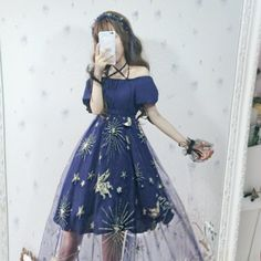 Japanese Harajuku Blue Star Unicorn Mesh Sheer Dress I love the dress, but full white knit stockings would've been the cutest Kawaii Fashion, Lolita Fashion, Cute Fashion, Harajuku Fashion, Gothic Fashion, Fall Dresses, Pretty Dresses, Beautiful Dresses, Sheer Dress
