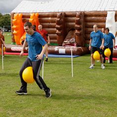 "It's a Knockout Inflatables Scrambled Eggs ""Giant obstacle course meets sports day in our inflatable team building game - Scrambled Eggs. Team Building Games, Team Games, Group Games, Team Building Exercises, Kids Party Games, Fun Games, Games For Kids, Picnic Games, Camping Games"