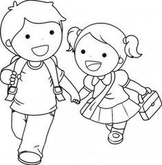niño y niña para colorear
