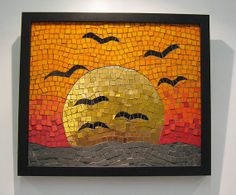 Wall art golden sun mosaic by KateRattrayMosaics on Etsy, £295.00
