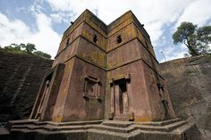 Bete Giyorgis (church of St. George) at Lalibela, Ethiopia. This curch had been carved from solid volcanic rock in the 12th century CE, during the reign of the sanctified king Gebre Mesqel Lalibela. Since 1978 the monolithic churches of Lalibela are part of the UNESCO World Heritage List.