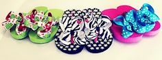 Make your own boutique flip flops with glitter ribbon and bows.
