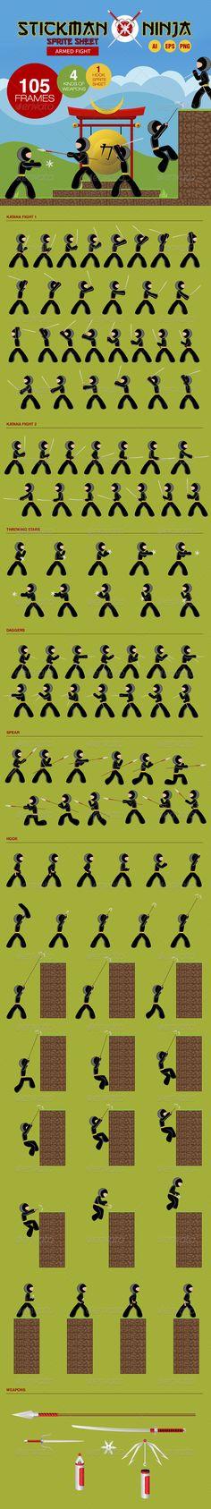 Stickman Ninja Sprite Sheet - Armed Fight - Sprites Game Assets