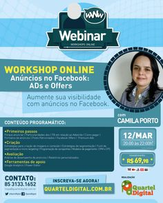 $70 Workshop Online – Anúncios no Facebook. Dia 12/03