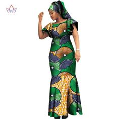 2018 African Natural dashiki women bazin riche o-neck long dress dashiki plus size dresses for women African Fashion Designers, African Dresses For Women, African Print Fashion, Africa Fashion, African Attire, African Wear, African Fashion Dresses, Fashion Outfits, African Outfits