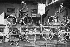 Bicycle display - World's Fair Chicago 1893 (style shown was fairly new, bicycles were important means of transportation if one couldn't afford horse/carriage)