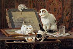 Leçon d'aquarelle - Henrietta Ronner-Knip, (1821-1909)