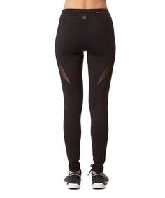 This Black Mesh-Detail Active Leggings is perfect! #zulilyfinds