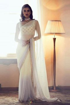 Delightful White Satin Silk Trendy Bollywood Stylish Party Wear Saree WhatsApp us for Purchase & Inquiry : Buy Best Designer Collection from padukon Saree Draping Styles, Saree Styles, Indian Attire, Indian Outfits, Party Wear Indian Dresses, Indian Clothes, Sari Dress, The Dress, Sari Bluse