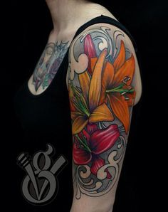 flower arm sleeve tattoos | ... Glahn - lily lilies flower women female color arm halfsleeve tattoo