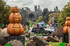Alton Towers the British theme park built on the grounds of a Gothic style stately home decorated for Halloween Scarefest