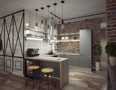 Home Decoration With Curtains Code: 7704211881 Loft Interiors, Loft Style, Industrial House, Modern Kitchen Design, Apartment Design, Minimalist Home, Home Kitchens, Kitchen Remodel, Sweet Home