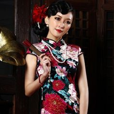 $45.99 Floewr Print Cheongsam Beautiful Vintage Dresses Black