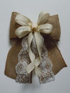 Vintage Ivory Burlap and lace Wedding Pew Bow by SimplyAdornmentsss