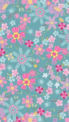 Floral Pattern By Petit Lul – Pattern Design – fondos Girly Wallpaper, Hello Wallpaper, Flower Phone Wallpaper, Kawaii Wallpaper, Colorful Wallpaper, Cellphone Wallpaper, Iphone Wallpaper, Cute Cartoon Wallpapers, Pretty Wallpapers