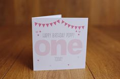 Personalised Handmade 1st first birthday card girl daughter grand daughter ONE