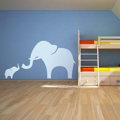 Mama and Baby Elephant Wall Decal 44 x 23 -  Vinyl Wall Art Decal Sticker. $44.99, via Etsy.