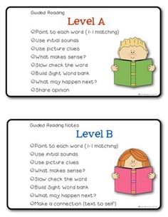 Teach Your Child to Read - Guided Reading Note Cards for Teachers FREEBIE - Give Your Child a Head Start, and.Pave the Way for a Bright, Successful Future. Guided Reading Lessons, Guided Reading Levels, Reading Notes, Reading Centers, Reading Skills, Reading Strategies, Guided Reading Activities, Cafe Strategies, Guided Reading Binder