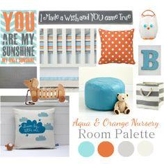 Aqua & Orange Nursery Room Palette