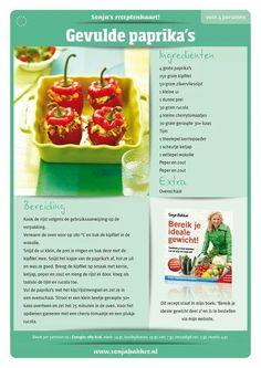 Gevulde paprika's, Sonja Bakker --> gemaakt en goedgekeurd (meer rijst,meer ketjap en zonder kip)