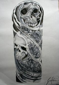 skull half sleeve tattoo drawings