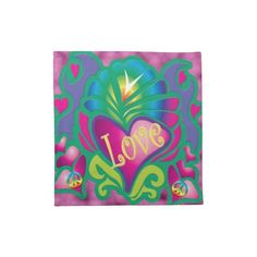 Psychedelic Floral Heart Cloth Napkins